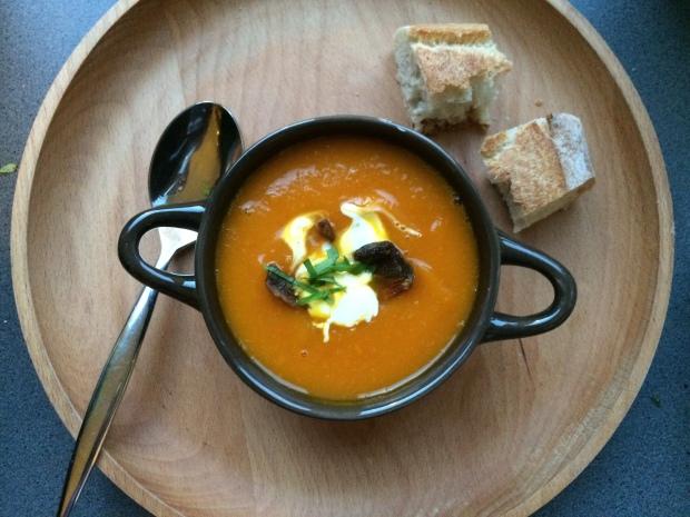 Soupe de potimarron et cèpes
